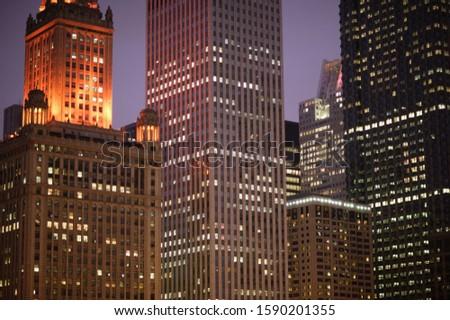 Jewellers Building and Leo Burnett Building at night, East Wacker Drive, Chicago, Illinois, USA