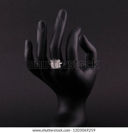 Jewellery ring isolated on a black background. #1203069259