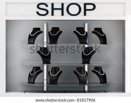 Jewellery shop window - stock photo