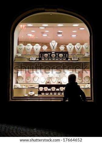 Jewellery shop window at night