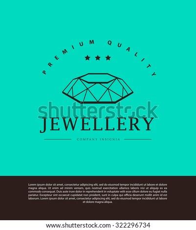 Jewelry and diamond logo template. Flat crystal company insignia template. Jeweller\'s brand identity design.