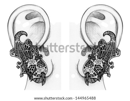 Surrealism Hands Drawing Hand Drawing Earring on Paper