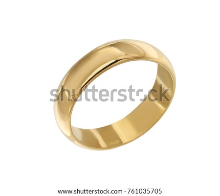 Jewelry gold ring isolated on white background