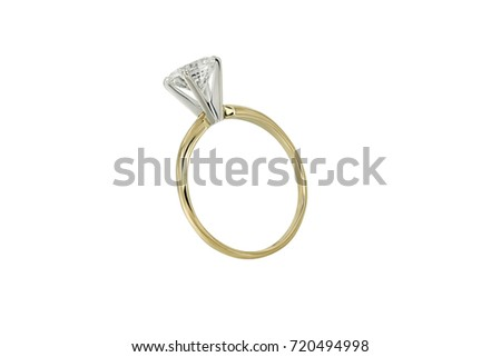 Jewelry gold ring with diamond isolated on white background #720494998