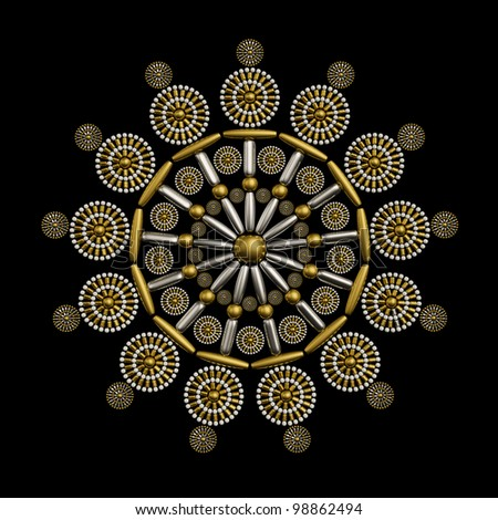 Jewelry ornament design made from metallic seed beads isolated on black background. Luxury ornament concept