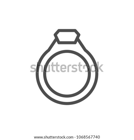 Jewelry ring line icon isolated on white