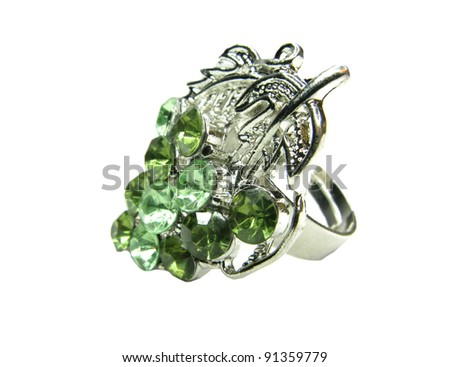 stock photo jewelry ring with green crystals isolated on white background