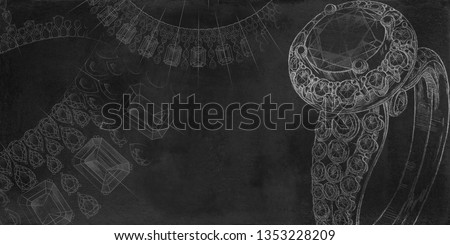 Jewelry theme. Black background with hand-painted jewelery. Textural background for creativity. Stock photo ©