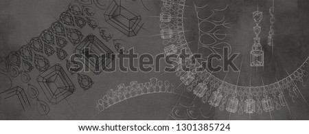 Jewelry theme. Dark gray background with hand-painted jewelery. Textural background for creativity. Stock photo ©