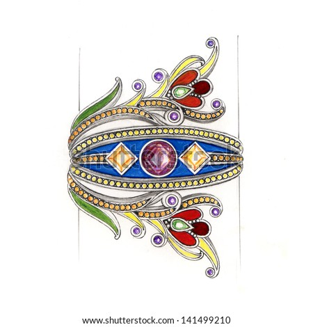 Jewelry vintage Hand drawing and painting bangle on paper