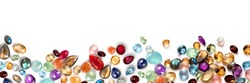 jewels as background. Jewelery texture. . Necklace earrings bracelet pearls gemstones as background