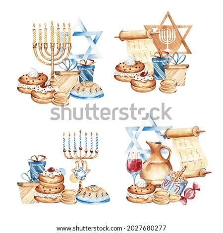 Jewish holiday Hanukkah banner design with menorah, dreidel, traditional bakery. Jewish hanukkah frame. Happy Hanukkah greeting card template.  Foto stock ©