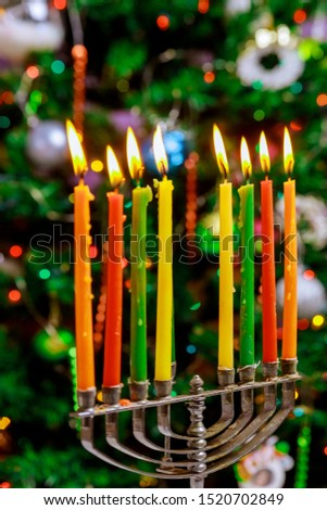Jewish holiday, Holiday symbol Hanukkah Brightly Glowing Hanukkah Menorah soft focus #1520702849