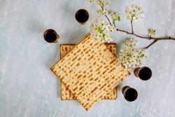 Jewish holiday Passover with matzah, pesah celebration four cup kosher wine