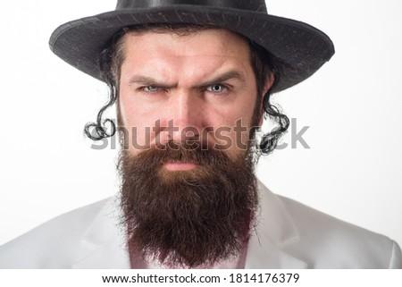 Jewish man. Bearded jewish man. Close up portrait of bearded orthodox jewish man. Purim, business, businessman, festival, holiday, celebration, judaism, religion concept. Photo stock ©