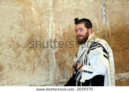 Jewish man dressed in ritual clothing