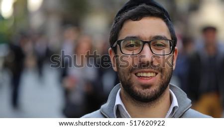 Jewish man in city street face portrait Stockfoto ©