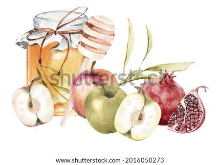 Jewish new year Rosh Hashanah greeting card design with honey, pomegranate and apples. Jewish New year celebration. Watercolor honey jar and fruits. Shana tova greeting card template.  Foto stock ©