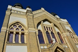 Jewish synagogue in Nitra, decorative windows above main entrance. Build during years 1908 and 1911, it is a melange of Moorish, Byzantine and Art Nouveau architercutral elements, Baumhorn style.