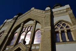 Jewish synagogue in Nitra, view from southeastern side. Build during years 1908 and 1911, it is a melange of Moorish, Byzantine and Art Nouveau architercutral elements, Baumhorn style.