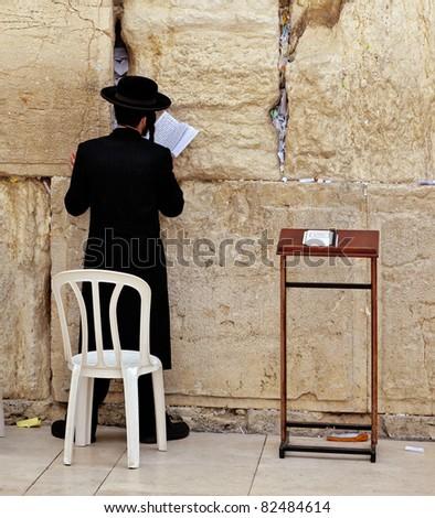 Jews praying at the Western Wall - Jerusalem.