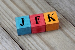 JFK (John F. Kennedy International Airport) airport code on colorful wooden cubes