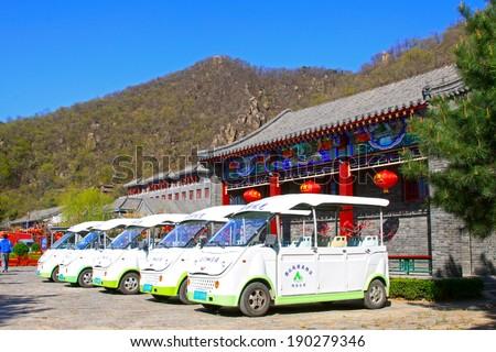 JI COUNTY - APRIL 5: Battery car arranged together in the Panshan Mountain scenic spot, April 5, 2014, ji county, tianjin, China.