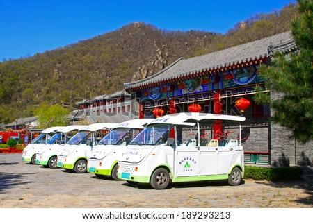 JI COUNTY, CHINA - APRIL 5: Battery car arranged together in the Panshan Mountain scenic spot, April 5, 2014, ji county, tianjin, China.