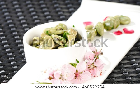 Jiangnan traditional seasonal side dish with broad bean