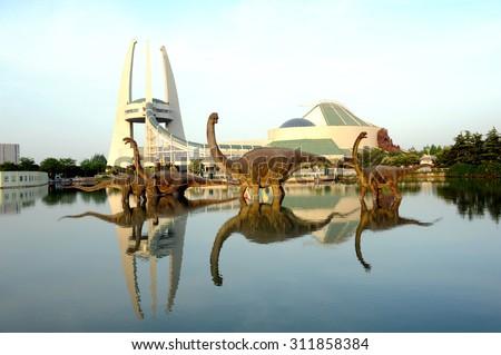 Jiangsu, Changzhou, China, April 15, 2013. Chinese Dinosaur Park landmark building. China dinosaur park is a dinosaur themed playground, national 4A class tourist attractions.