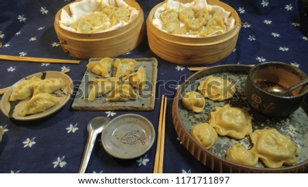 Jiaozi with our handmade pottery #1171711897
