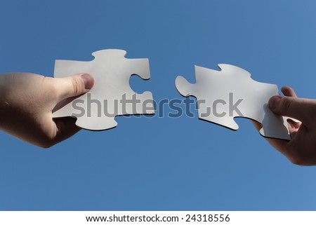Jig Saw Puzzle Pieces Fitted with Bare Hands