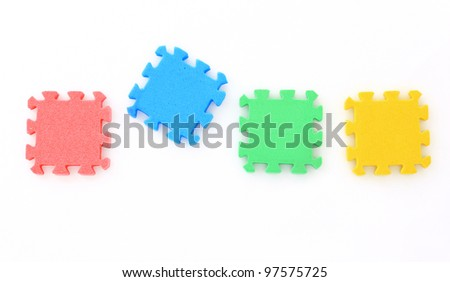 Jigsaw on white,Puzzle.
