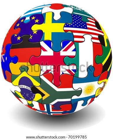 Jigsaw piece flag globe