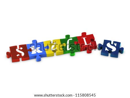 Jigsaw pieces spelling out SKILLS