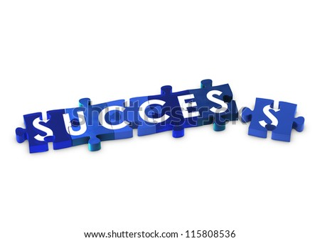 Jigsaw pieces spelling out SUCCESS