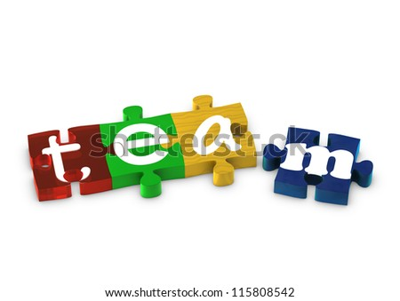 Jigsaw pieces spelling out TEAM
