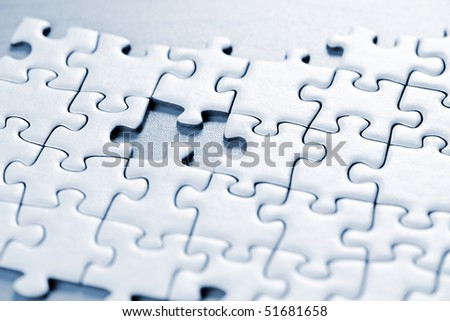 Jigsaw puzzle assembled with a piece missing