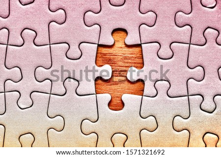 Jigsaw puzzle background, one last piece missing only, almost complete ストックフォト ©