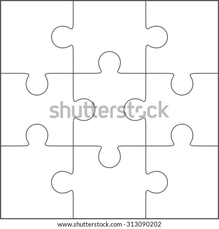 Jigsaw Puzzle Vector Blank Simple Stock Photo 283500146