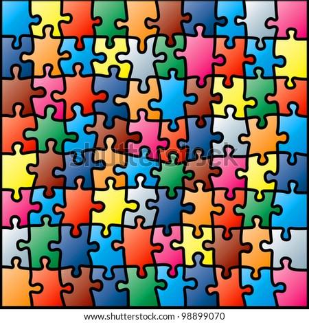 Jigsaw Puzzle Colorful Pattern. Rasterized Version - stock photo