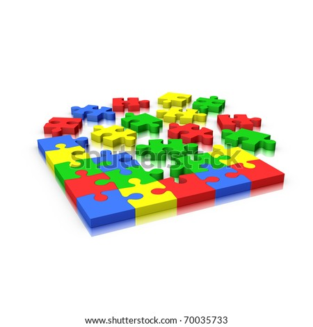 Jigsaw puzzle incomplete isolated on white (red yellow green and blue)