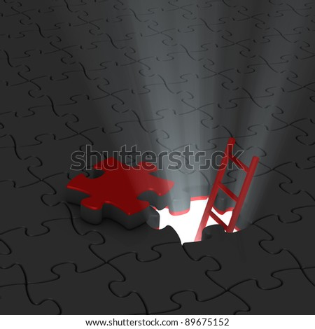 jigsaw puzzle, ladder and beams of light