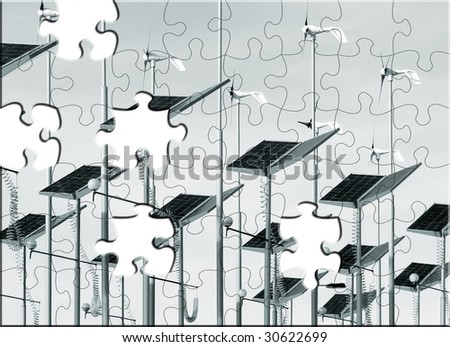 Jigsaw puzzle of wind generators and solar panels