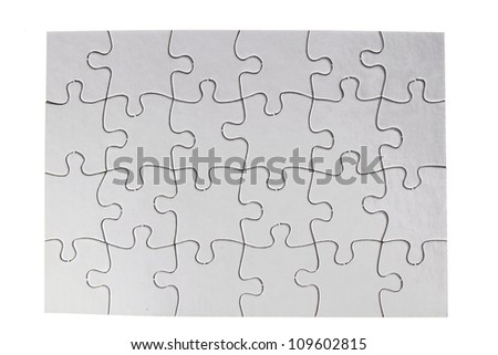 Jigsaw puzzle on plain background - stock photo