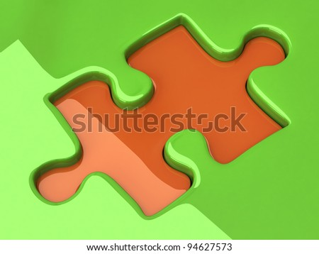 Jigsaw puzzle piece on green background - stock photo