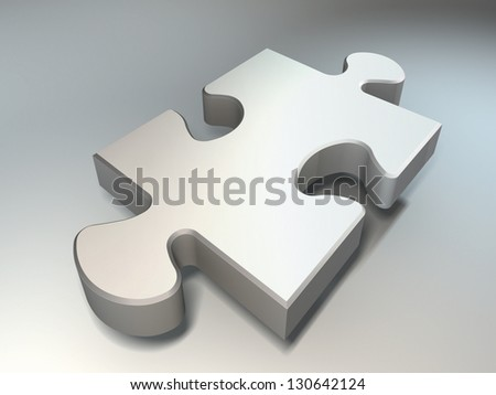 jigsaw puzzle piece on white blue background