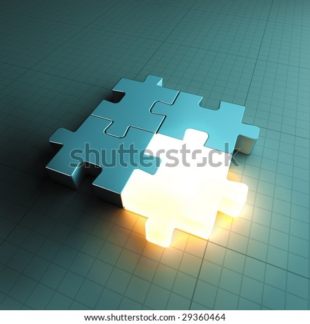 Jigsaw puzzle piece standing out