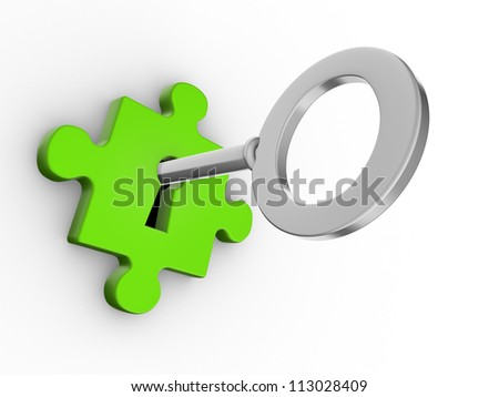 Jigsaw puzzle piece with key. 3d render