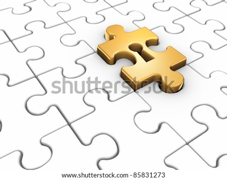 Jigsaw puzzle piece with keyhole. This is a 3d render illustration